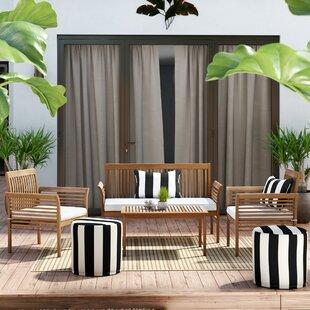 Beachcrest Home Glynn 4 Piece Sofa Set with Cushions
