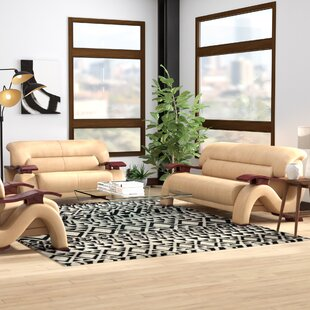 Price Check Belgr Leather 3 Piece Living Room Set by Orren Ellis Reviews (2019) & Buyer's Guide