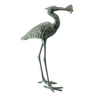 SPI Home Garden Single Crane Eating Fish Statue