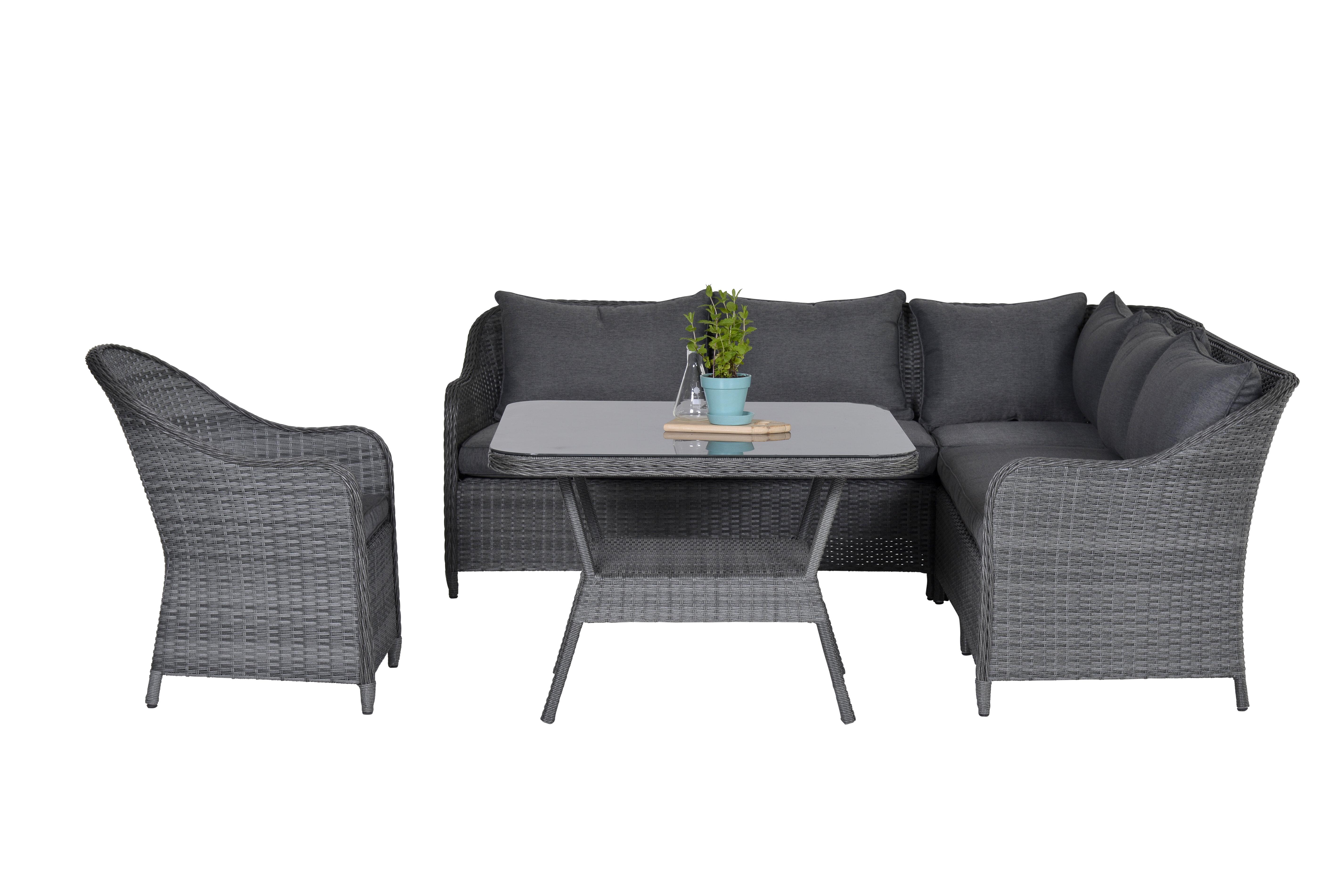 Lynton Garden 4-Sitzer Lounge-Set Fosteau aus Rattan mit Polster ...