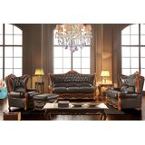 Hardman 3 Piece Leather Standard Living Room Set by Astoria Grand