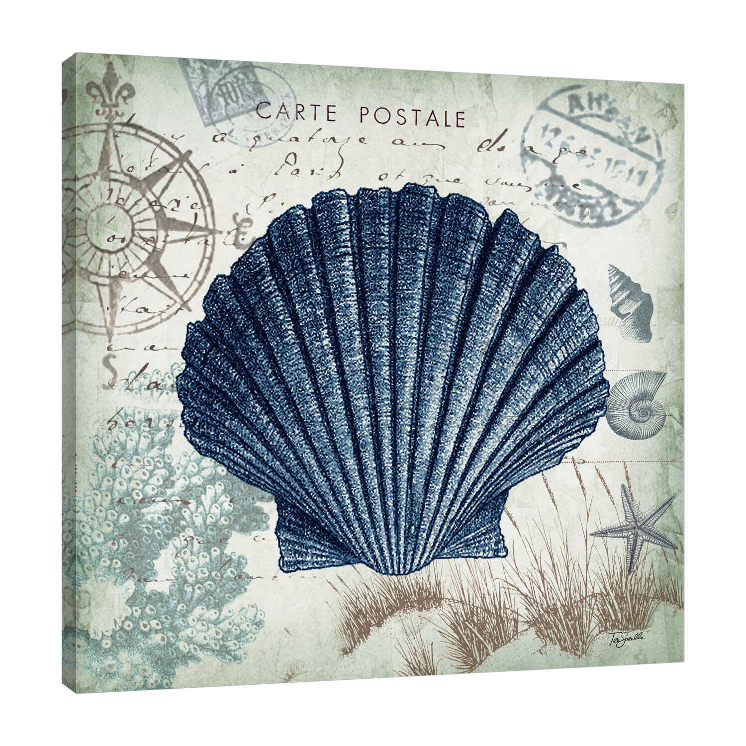 Breakwater Bay Seaside Postcard Scallop Shell Graphic Art Print On Wrapped Canvas Reviews Wayfair