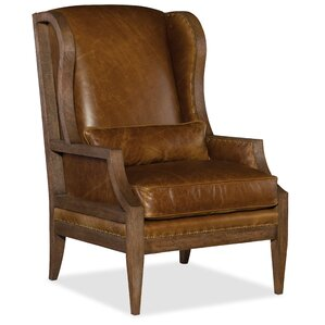 Attractive Laurel Exposed Wood Wingback Chair