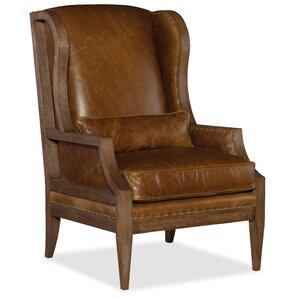 laurel exposed wood wingback chair