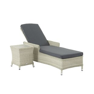 Ridgewood Reclining Sun Lounger With Cushion And Table By Sol 72 Outdoor