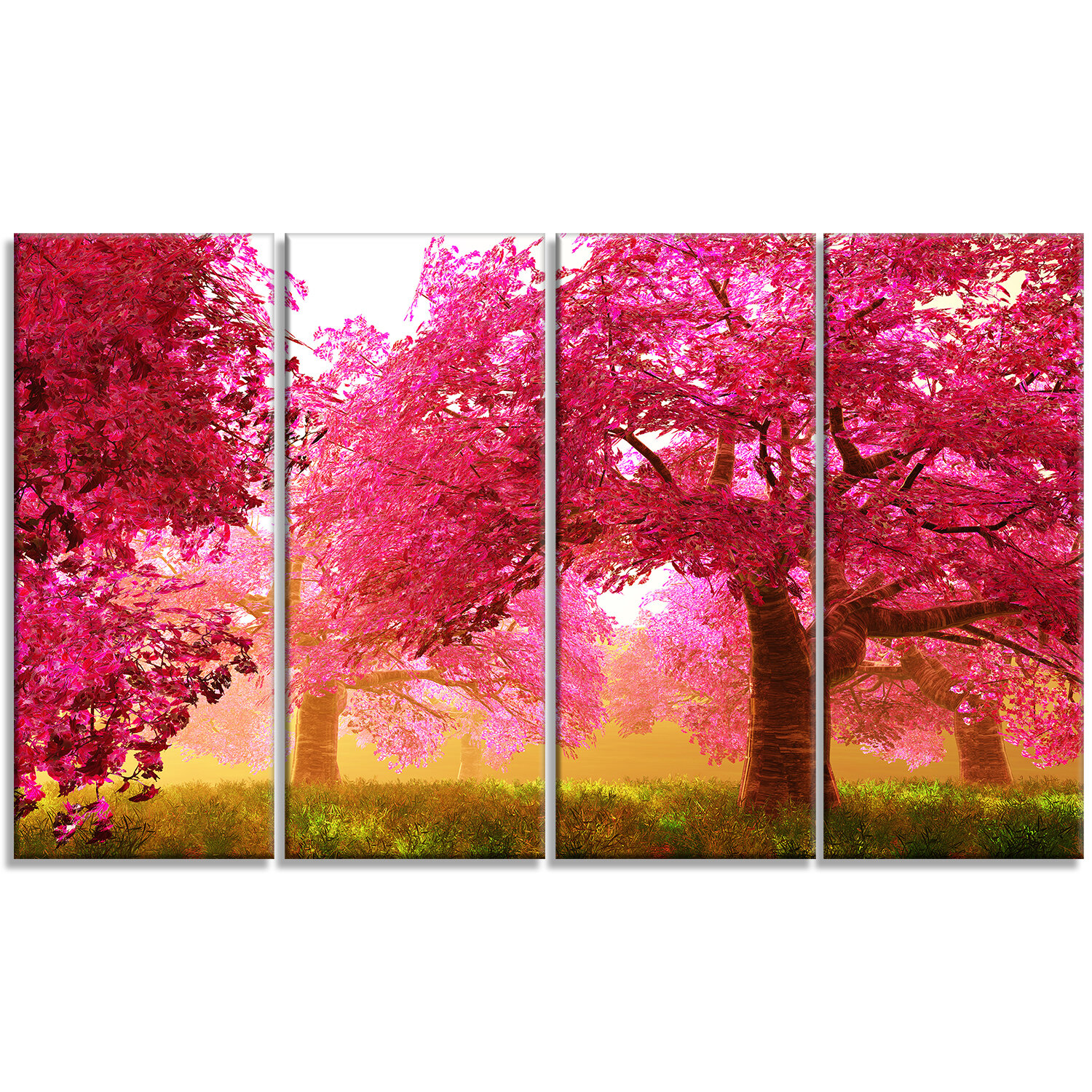 designart mysterious red cherry blossoms 4 piece graphic art on