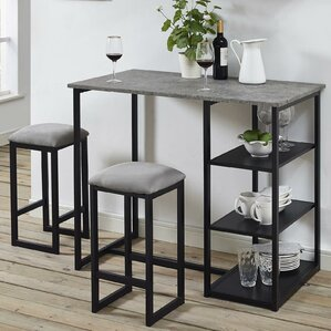 Denham 3 Piece Grey Pub Table Set by Mercury Row
