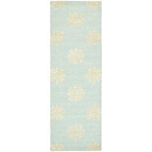 Marcello Hand-Woven Wool Light Blue/Beige Area Rug byAlcott Hill