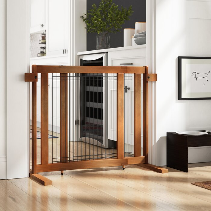 Leslee Tall Freestanding Wood Wire Pet Gate