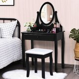 Hodgkins Wooden Vanity Set with Stool and Mirror by Canora Grey
