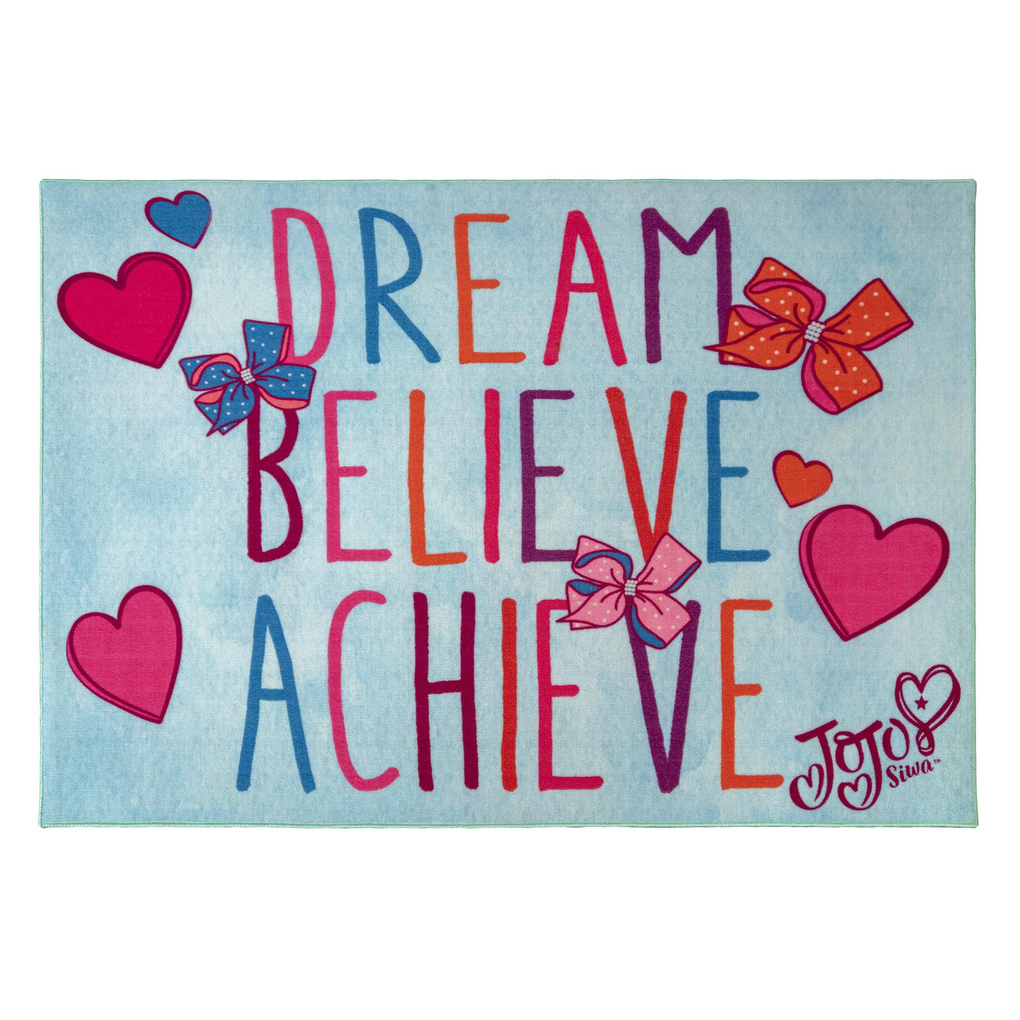 Jojo Siwa Kids Dream Believe Achieve Blue Area Rug