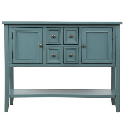 """Gracie Oaks Stride 46"""" Wide 4 Drawer Acacia Wood Buffet Table  Color: Dark Blue"""