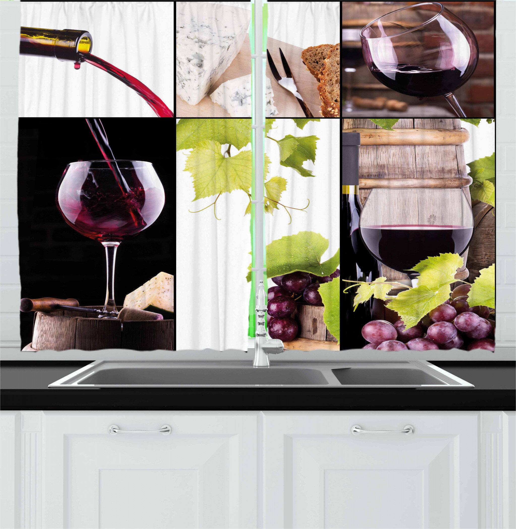 East Urban Home 2 Piece Wine Collage With Cask Bottle Wineglass Grape Gourmet Taste Beverage Kitchen Curtain Wayfair
