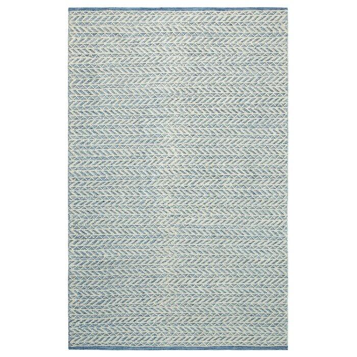 Herringbone Berber Hand Woven Blue White Area Rug