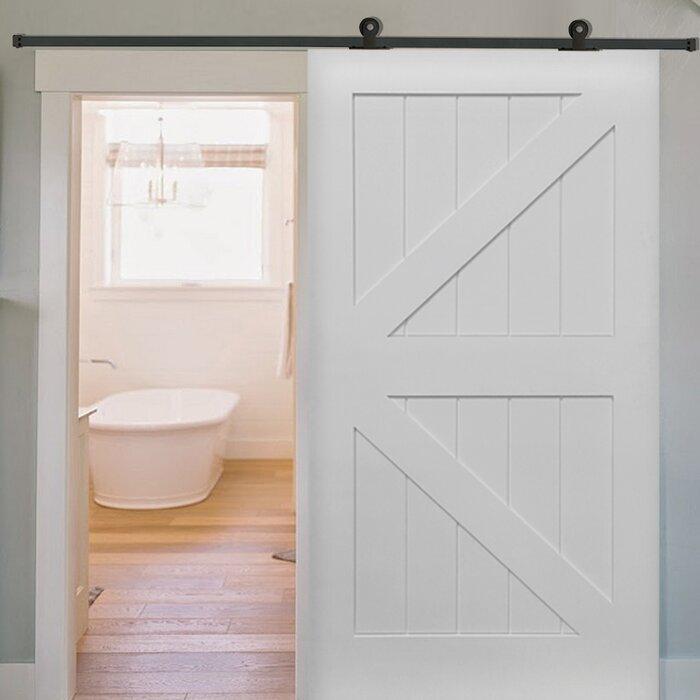 Terrific Paneled Manufactured Wood Primed Planked Barn Door With Installation Hardware Kit Uwap Interior Chair Design Uwaporg
