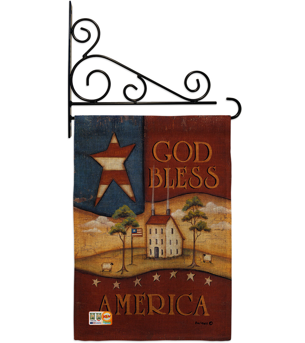 Breeze Decor God Bless America 2 Sided Burlap 19 X 13 In Flag Set Wayfair