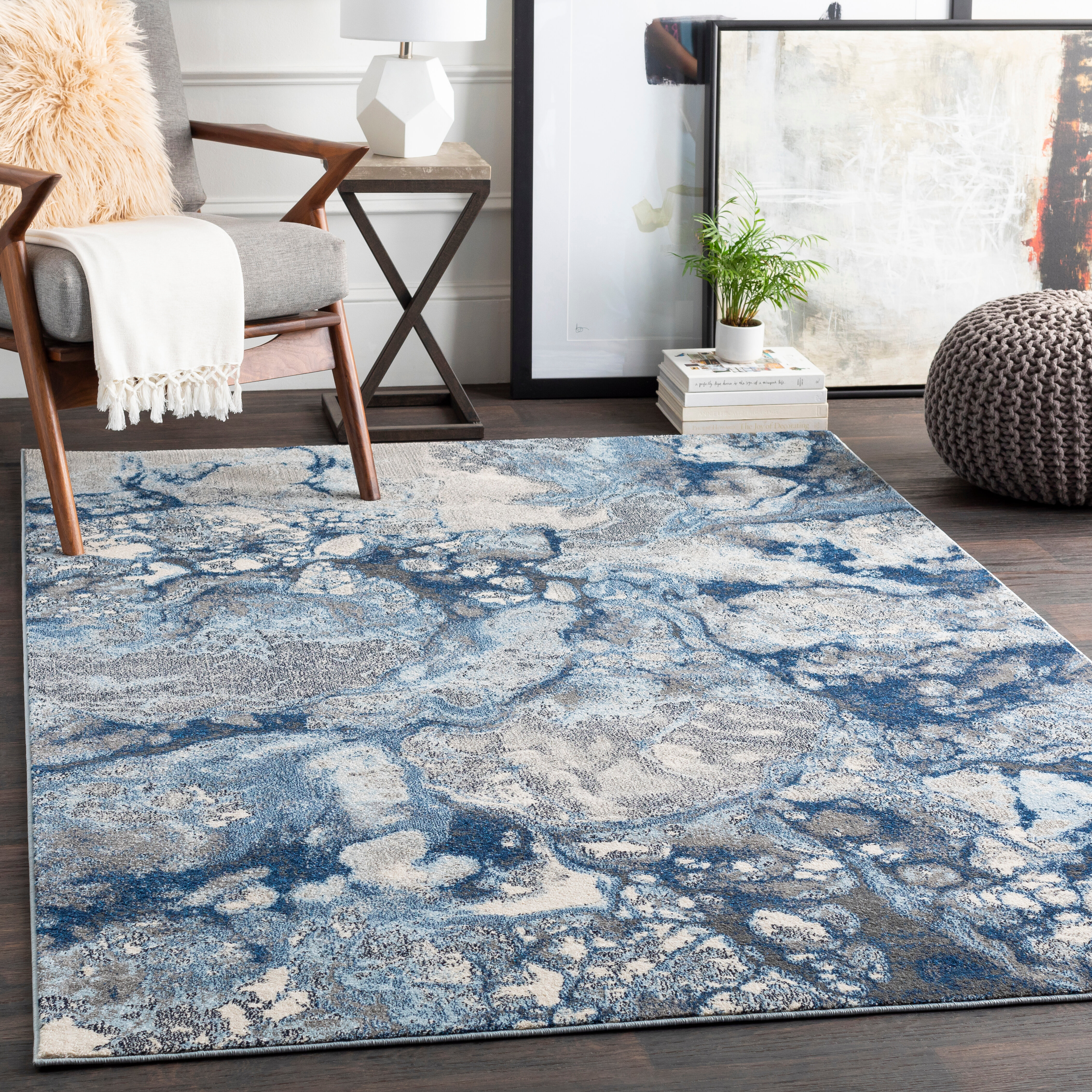 Wrought Studio Abbyville Abstract Bright Blue Navy Area Rug Reviews Wayfair