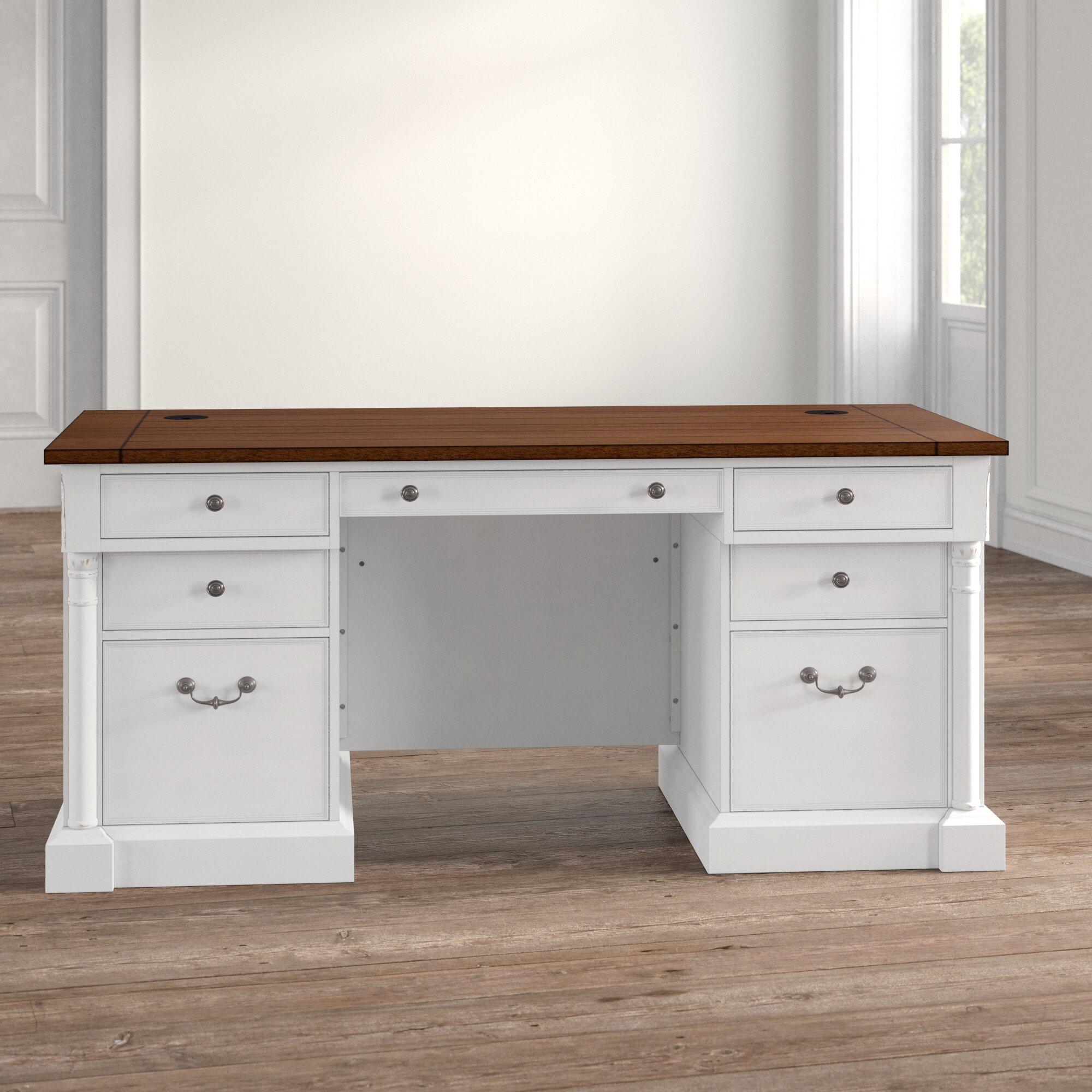 - August Grove Chmura Executive Desk With White Base & Reviews Wayfair