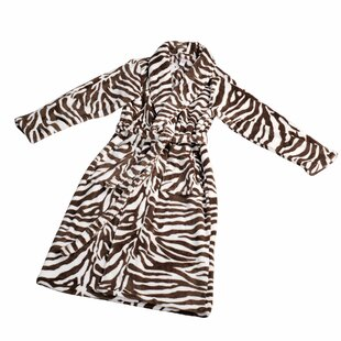 Zebra Flannel Fleece Bathrobe