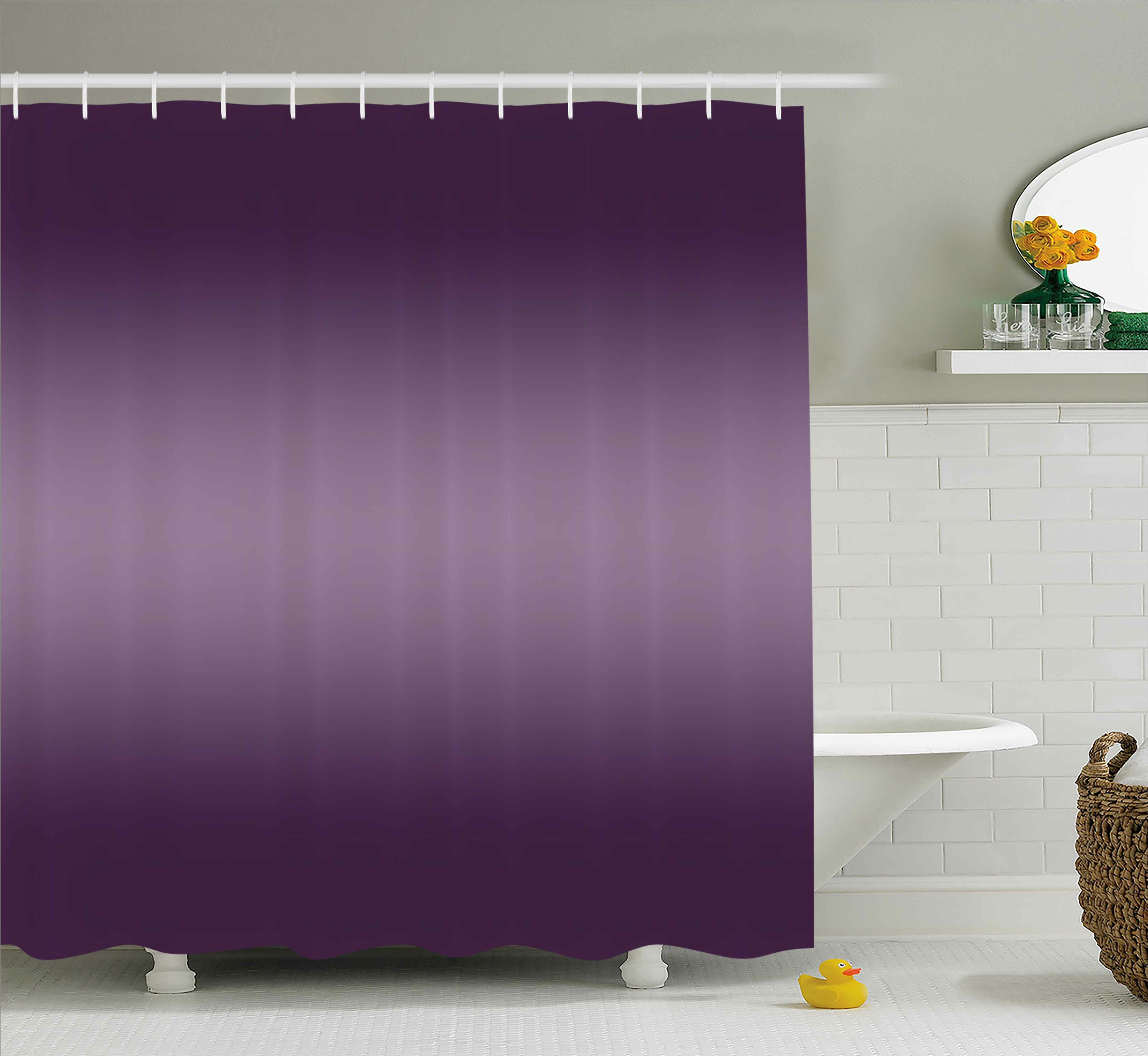 Eggplant Pattern Shower Curtain Fabric Decor Set With Hooks