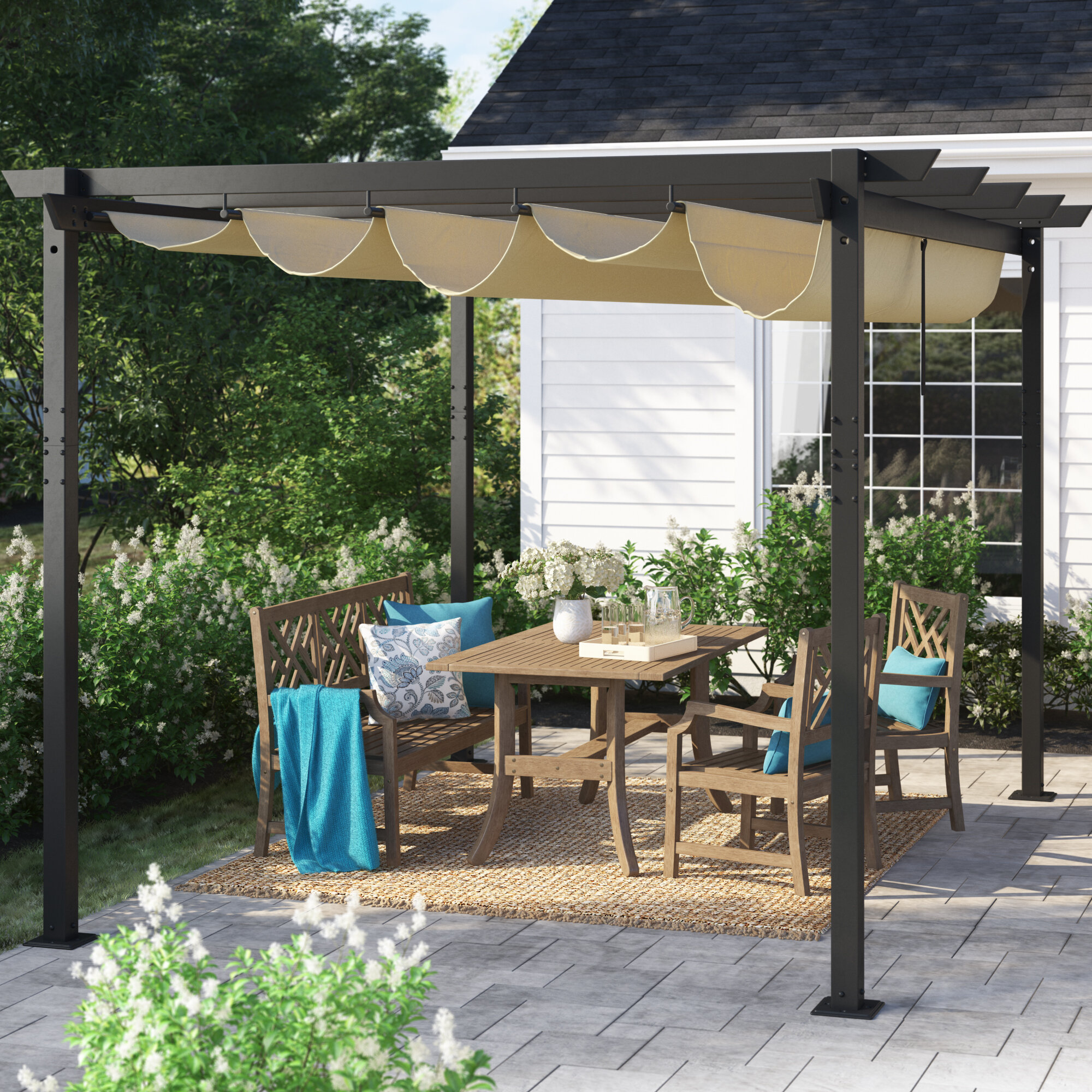 Sol 72 Outdoor Wirksworth 13 W X 10 D Metal Pergola With Canopy Reviews Wayfair