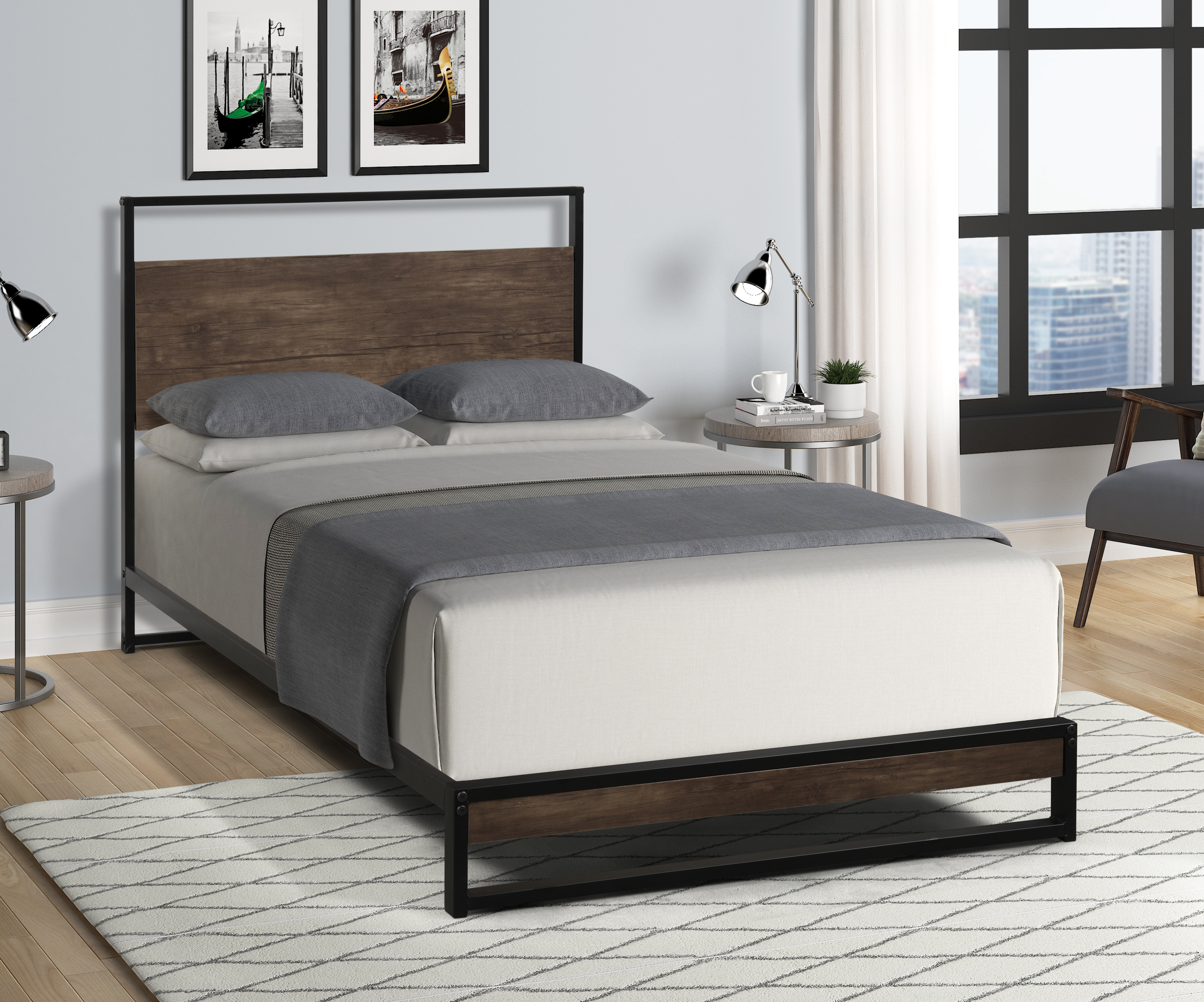 17 Stories Modern And Simple Metal Platform Bed Frame Wooden Headboard Steel Plate Support No Need For Spring Box Storage Space Under The Bed Wayfair Ca