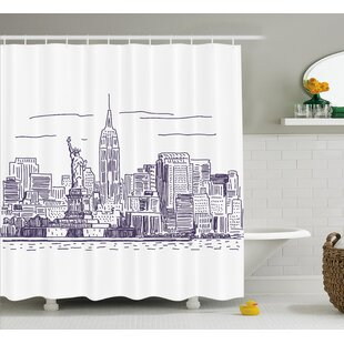 Brunella Sketchy NYC Island Single Shower Curtain