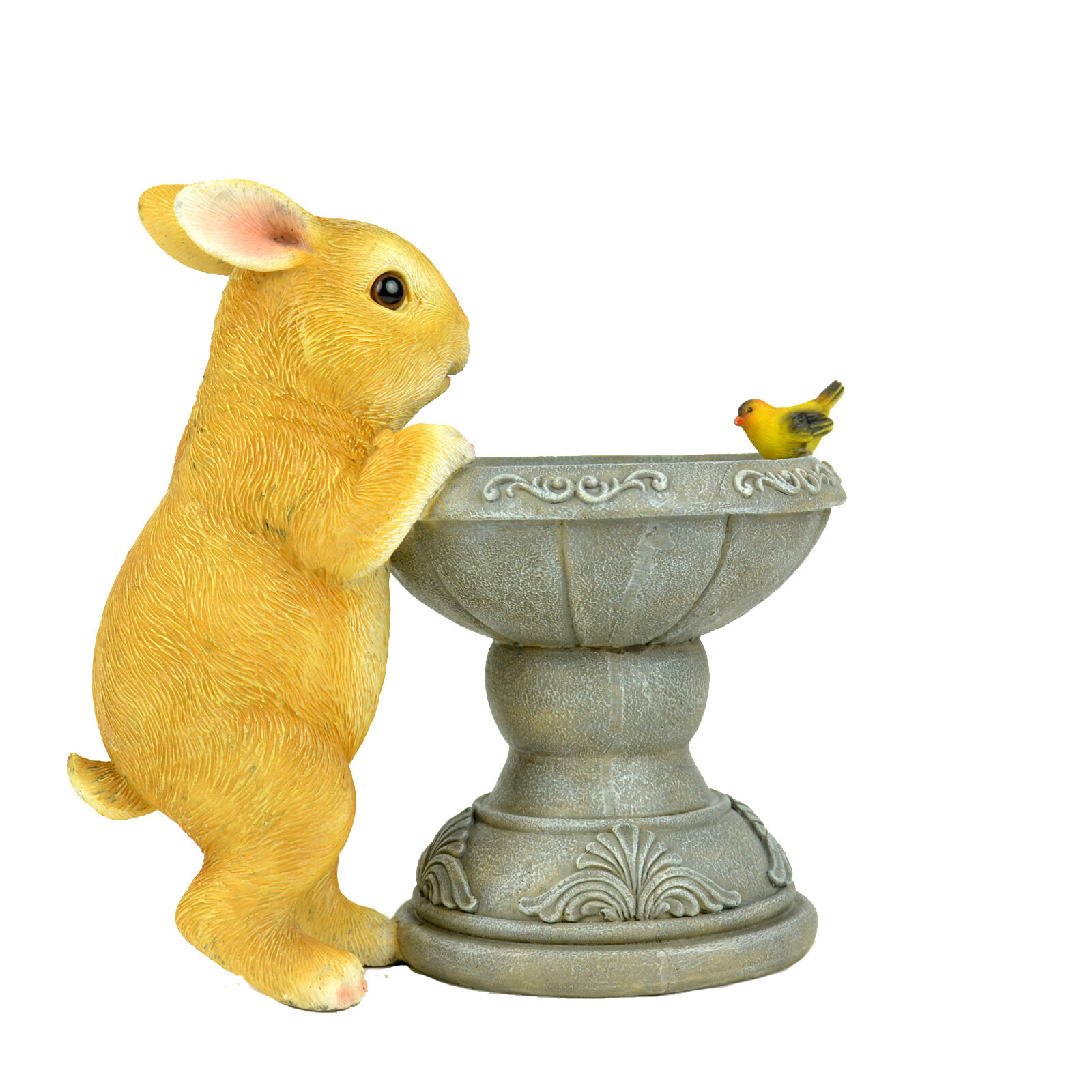One Allium Way Romolo Bunny And Bird Bath Decor Wayfair