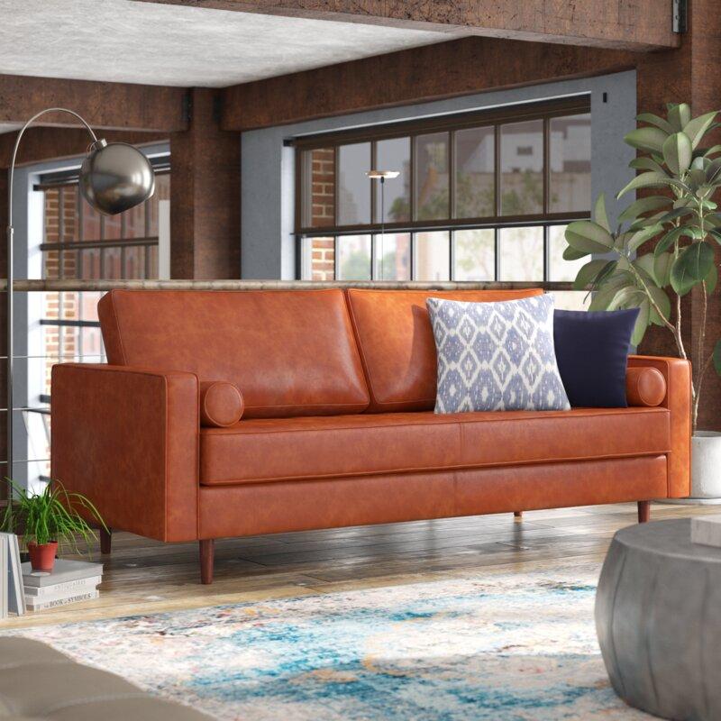 Trent Austin Design Bombay Leather 88 Quot Square Arms Sofa