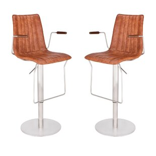 Denholme Adjustable Height Swivel Bar Stool (Set of 2) by Brayden Studio