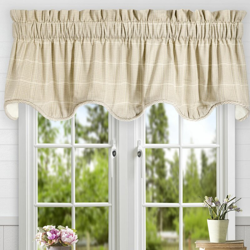 Frilled Kitchen Curtains Lined: Ellis Curtain Morrison Plaid Cotton Scallop Lined Curtain