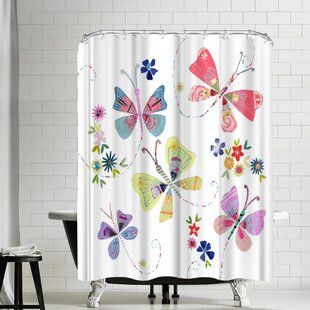 Liz and Kate Pope Pretty Flying Butterflies Shower Curtain