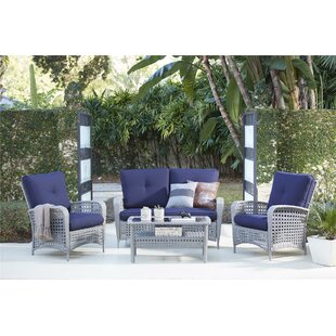 Edwards 4 Piece Rattan Sofa Seating Group with Cushions