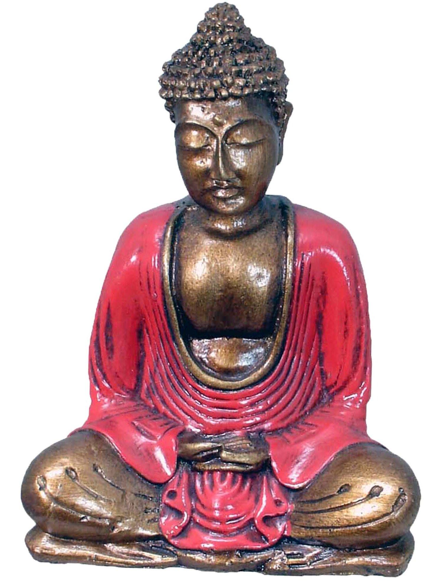 Benzara Rounded Ushnisha Head on Hands Buddha Figurine One Size Red