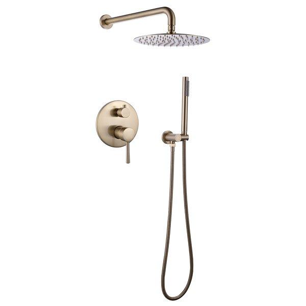 "8/""Brushed Gold LED Rain Shower Combo Set Bathroom Shower Head Wall Mount System"