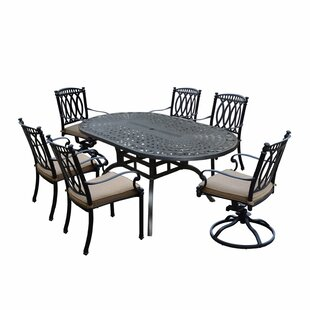 Darby Home Co Otsego 7 Piece Aluminum Outdoor/Indoor Dining Set with Cushions