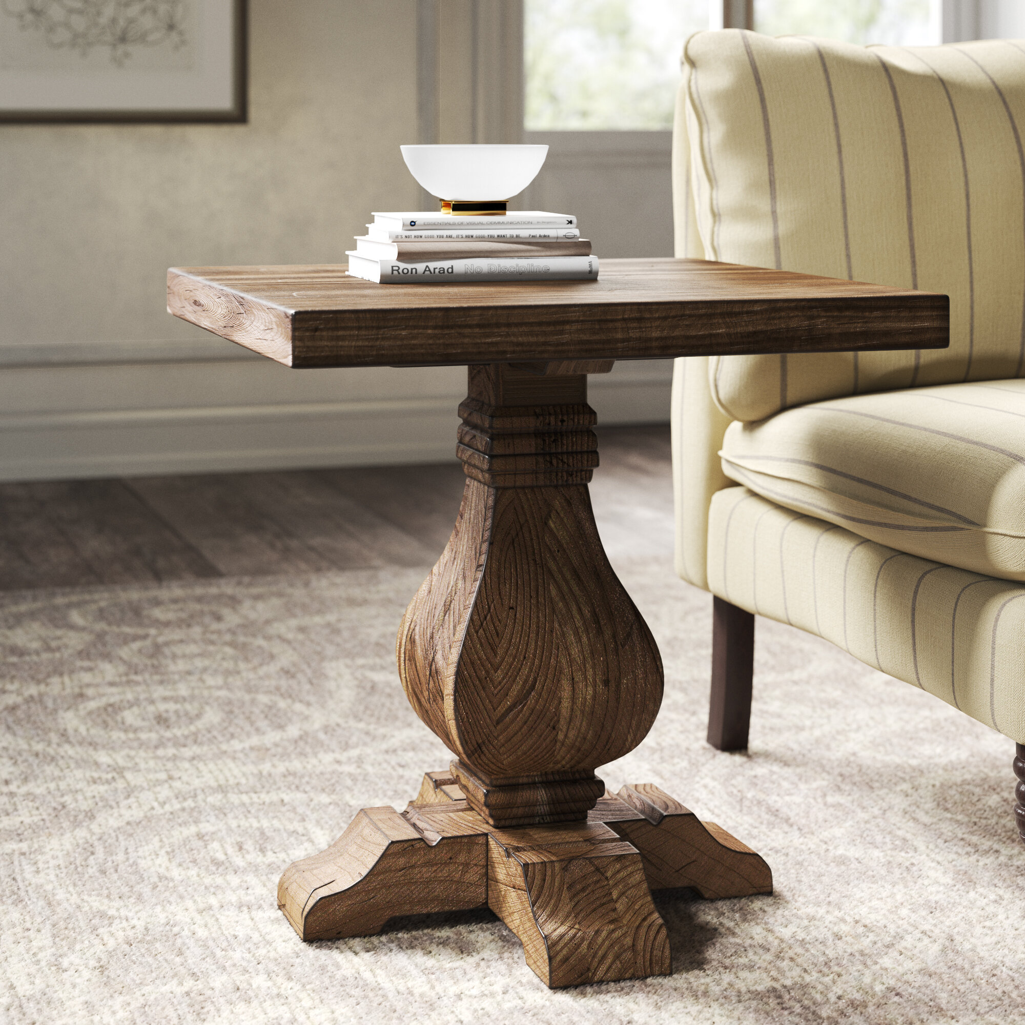 Kelly Clarkson Home Summit Solid Wood Pedestal End Table Reviews Wayfair