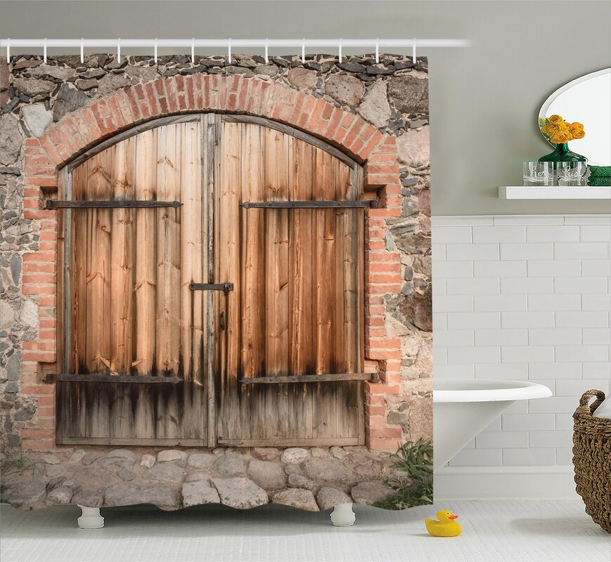 East Urban Home Wooden Tuscany Stone House Shower Curtain & Reviews ...