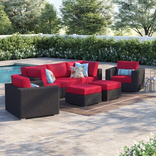 Purchase Brentwood 7 Piece Rattan Sectional Set with Cushions Online Reviews