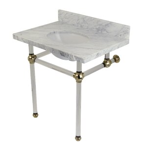 Kingston Brass Templeton Carrara Marble Rectangular Undermount Bathroom Sink with Overflow