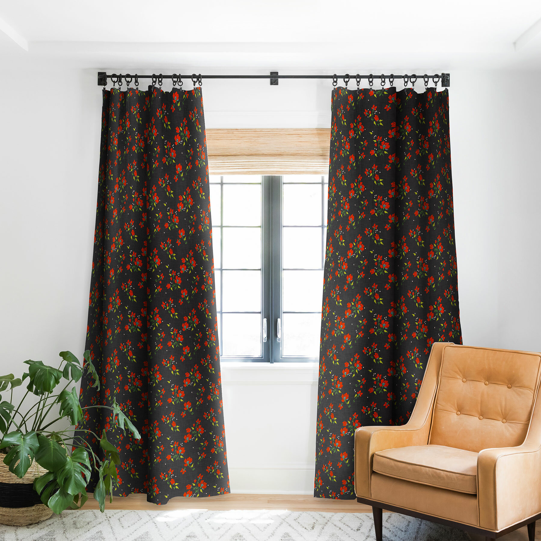 East Urban Home Holli Zollinger Bohemian Farmhouse Floral Room Darkening Rod Pocket Single Curtain Panel Wayfair