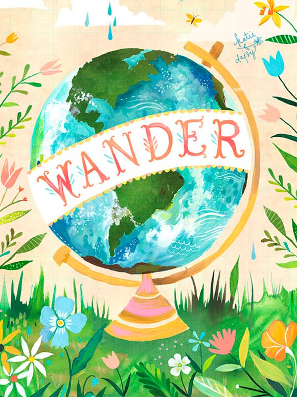 'Wander Globe' by Katie Daisy Print of Painting on Canvas. Happy LOVE Day, Lovelies! Poetry, handlettered art, and colorful Valentine's Day finds await on Hello Lovely Studio!