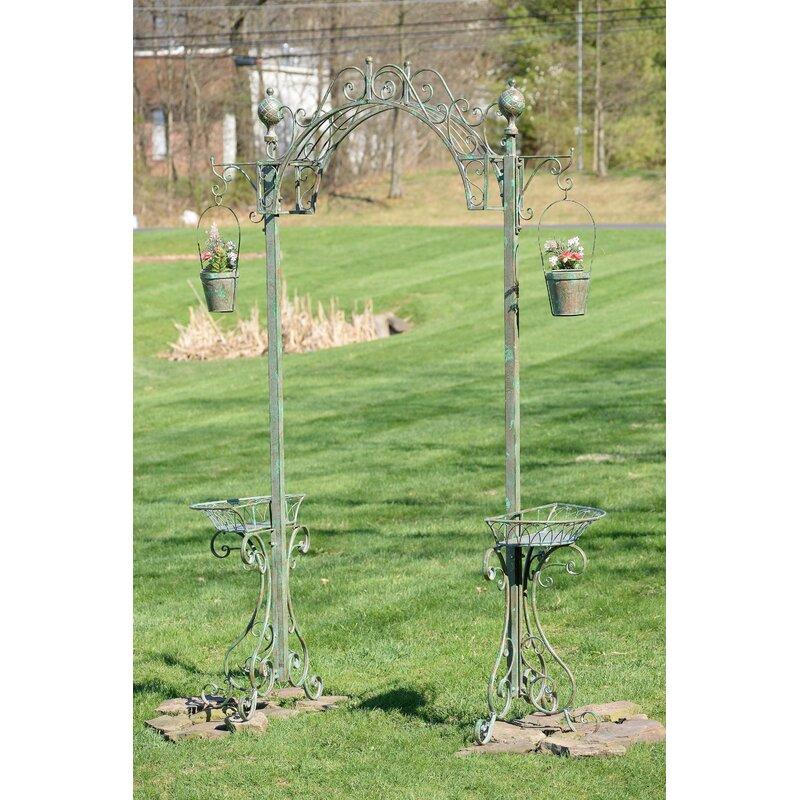 ZaerLtdInternational Garden Archway Iron Arbor with Planters  Color: Green
