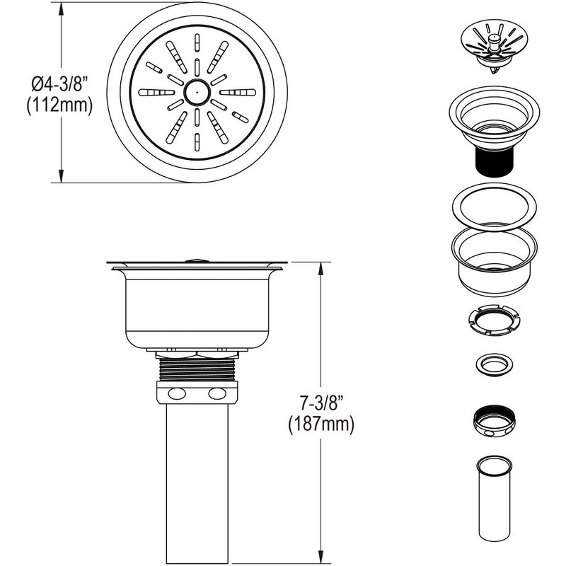 Elkay 3 5 Strainer Basket Kitchen Sink Drain Reviews Wayfair