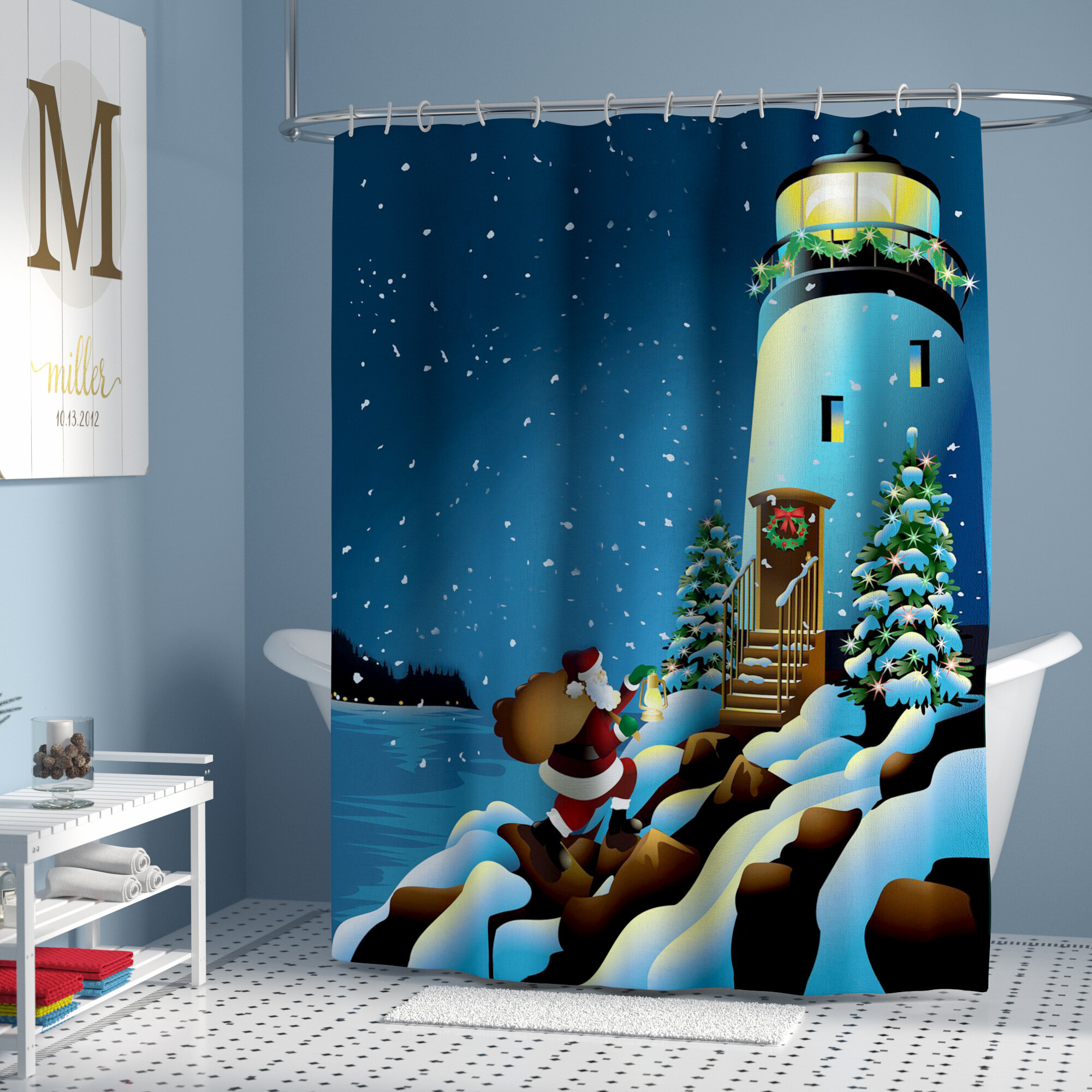 Holiday Lighthouse Single Shower Curtain