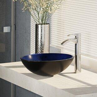 Read Reviews Glass Circular Vessel Bathroom Sink with Faucet ByRené By Elkay