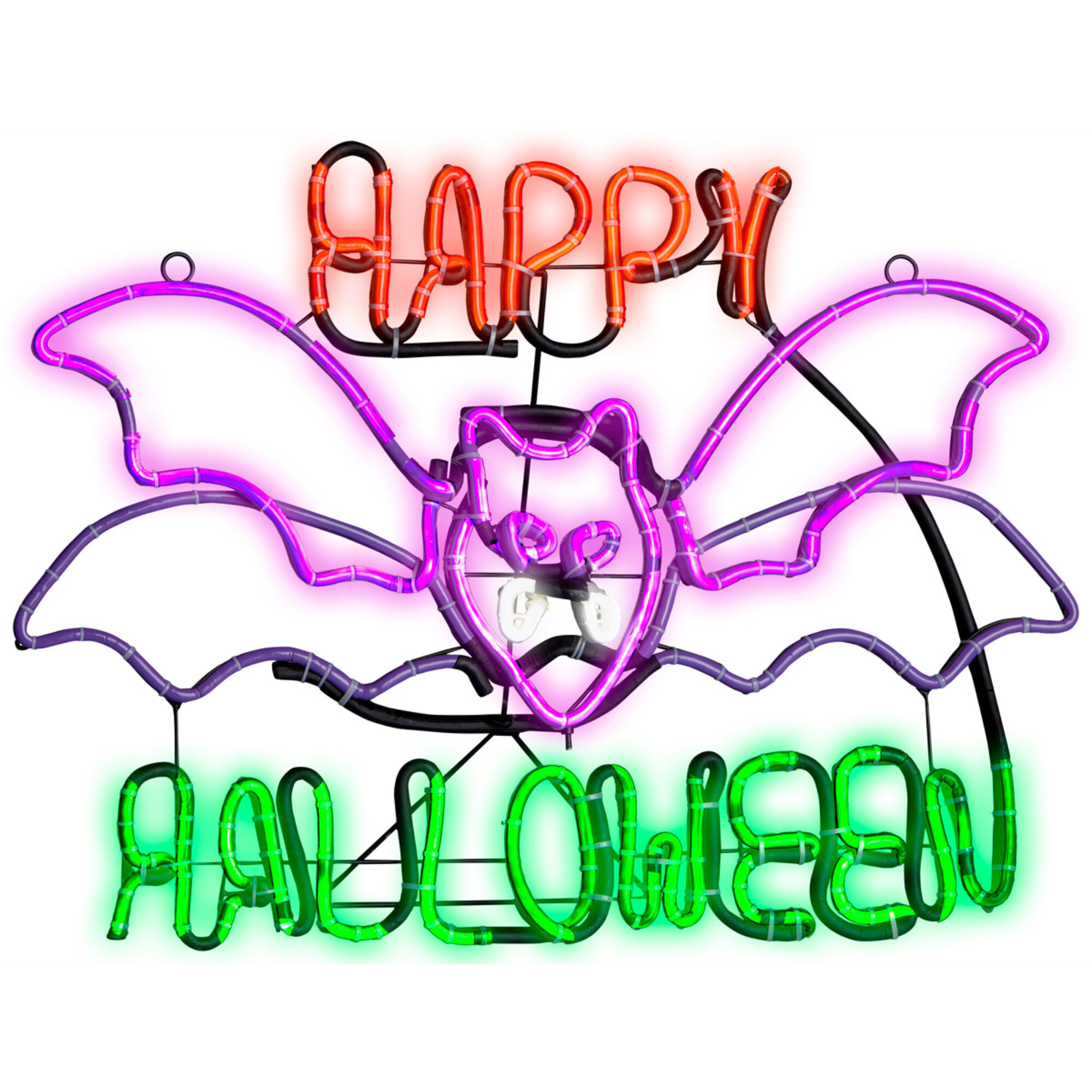 The Holiday Aisle Light Glo Flashing Flying Bat with Happy Halloween on