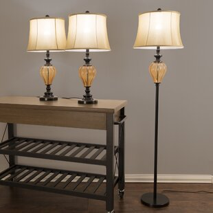 Lavish Home Amber Glass 3 Piece Table and Floor Lamp Set