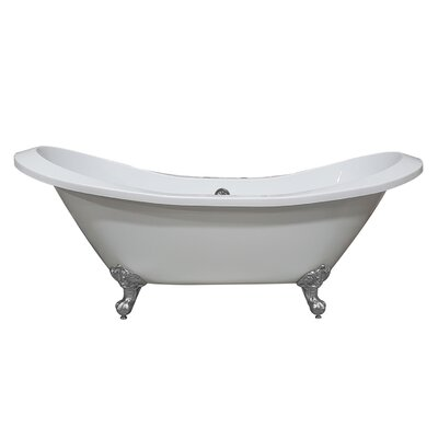 "Acrylic Double Slipper 73"" X 31"" Clawfoot Soaking Bathtub Cambridge Plumbing Feet Finish: Polished Chrome"