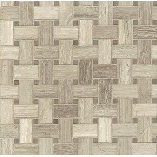 Basket Weave Marble Mosaic Tile In Ashen Grey